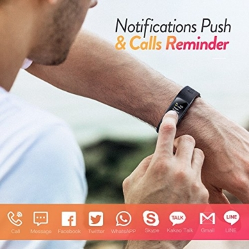 Color Fitness Armband,Antimi Wasserdicht IP67 Fitness Tracker Herzfrequenzmonitor Zeige Temperatur Wetter Schrittzähler Kalorienzähler Uhr Pulsuhren für Android iOS smartphones - 3