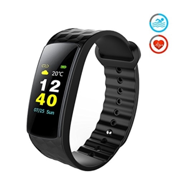 Color Fitness Armband,Antimi Wasserdicht IP67 Fitness Tracker Herzfrequenzmonitor Zeige Temperatur Wetter Schrittzähler Kalorienzähler Uhr Pulsuhren für Android iOS smartphones - 1