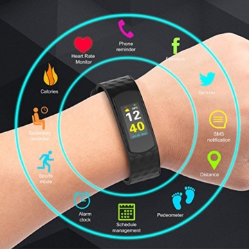 Color Fitness Armband,Antimi Wasserdicht IP67 Fitness Tracker Herzfrequenzmonitor Zeige Temperatur Wetter Schrittzähler Kalorienzähler Uhr Pulsuhren für Android iOS smartphones - 6