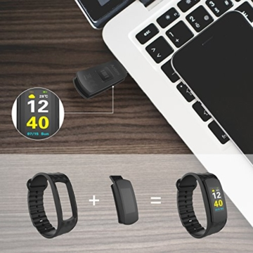 Color Fitness Armband,Antimi Wasserdicht IP67 Fitness Tracker Herzfrequenzmonitor Zeige Temperatur Wetter Schrittzähler Kalorienzähler Uhr Pulsuhren für Android iOS smartphones - 9