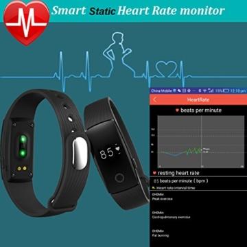 Fitness Armbanduhr,Yamay Fitness Tracker mit Herzfrequenz Pulsuhren Aktivitätstracker Fitnessuhr Bluetooth Smartwatch Schrittzähler Vibrationswecker Anruf SMS SNS Vibration für iOS und Android Handy - 2