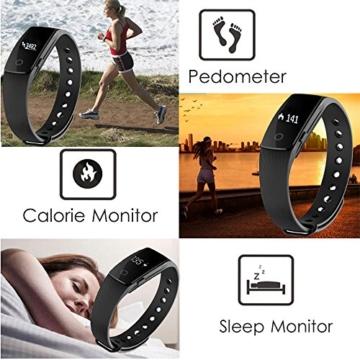 Fitness Armbanduhr,Yamay Fitness Tracker mit Herzfrequenz Pulsuhren Aktivitätstracker Fitnessuhr Bluetooth Smartwatch Schrittzähler Vibrationswecker Anruf SMS SNS Vibration für iOS und Android Handy - 3
