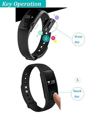 Fitness Armbanduhr,Yamay Fitness Tracker mit Herzfrequenz Pulsuhren Aktivitätstracker Fitnessuhr Bluetooth Smartwatch Schrittzähler Vibrationswecker Anruf SMS SNS Vibration für iOS und Android Handy - 4