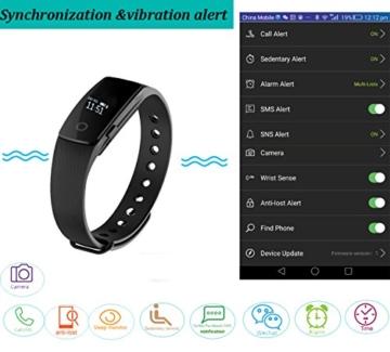 Fitness Armbanduhr,Yamay Fitness Tracker mit Herzfrequenz Pulsuhren Aktivitätstracker Fitnessuhr Bluetooth Smartwatch Schrittzähler Vibrationswecker Anruf SMS SNS Vibration für iOS und Android Handy - 5