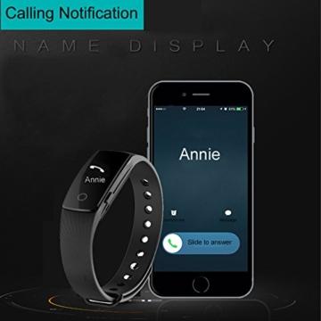 Fitness Armbanduhr,Yamay Fitness Tracker mit Herzfrequenz Pulsuhren Aktivitätstracker Fitnessuhr Bluetooth Smartwatch Schrittzähler Vibrationswecker Anruf SMS SNS Vibration für iOS und Android Handy - 6