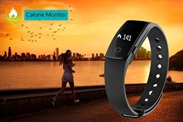 Fitness Armbanduhr,Yamay Fitness Tracker mit Herzfrequenz Pulsuhren Aktivitätstracker Fitnessuhr Bluetooth Smartwatch Schrittzähler Vibrationswecker Anruf SMS SNS Vibration für iOS und Android Handy - 8