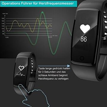 Fitness Armband,Yamay Fitness Tracker mit herzfrequenz Pulsmesser Aktivitätstracker Armbanduhr Wasserdicht Pulsuhren Schrittzähler Vibrationswecker Anruf SMS SNS Vibration für iOS und Android Handys - 2