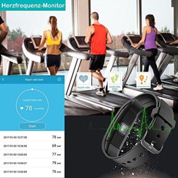 Fitness Armband,Yamay Fitness Tracker mit herzfrequenz Pulsmesser Aktivitätstracker Armbanduhr Wasserdicht Pulsuhren Schrittzähler Vibrationswecker Anruf SMS SNS Vibration für iOS und Android Handys - 3