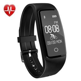 Fitness Armband,Yamay Fitness Tracker mit herzfrequenz Pulsmesser Aktivitätstracker Armbanduhr Wasserdicht Pulsuhren Schrittzähler Vibrationswecker Anruf SMS SNS Vibration für iOS und Android Handys - 1