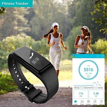 Fitness Armband,Yamay Fitness Tracker mit herzfrequenz Pulsmesser Aktivitätstracker Armbanduhr Wasserdicht Pulsuhren Schrittzähler Vibrationswecker Anruf SMS SNS Vibration für iOS und Android Handys - 4