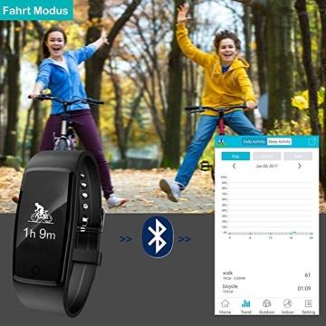 Fitness Armband,Yamay Fitness Tracker mit herzfrequenz Pulsmesser Aktivitätstracker Armbanduhr Wasserdicht Pulsuhren Schrittzähler Vibrationswecker Anruf SMS SNS Vibration für iOS und Android Handys - 5