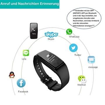 Fitness Armband,Yamay Fitness Tracker mit herzfrequenz Pulsmesser Aktivitätstracker Armbanduhr Wasserdicht Pulsuhren Schrittzähler Vibrationswecker Anruf SMS SNS Vibration für iOS und Android Handys - 6