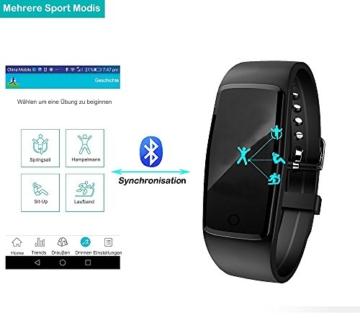Fitness Armband,Yamay Fitness Tracker mit herzfrequenz Pulsmesser Aktivitätstracker Armbanduhr Wasserdicht Pulsuhren Schrittzähler Vibrationswecker Anruf SMS SNS Vibration für iOS und Android Handys - 7