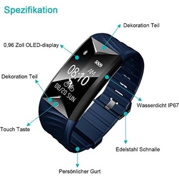 Fitness Armband,Yamay Fitness Tracker mit Herzfrequenz Wasserdicht IP67 Smart Watch Pulsuhren Aktivitätstracker Schrittzähler Armbanduhr,Schlafanalyse,Kalorienzähler Anruf/SMS für iOS Android Handys - 2