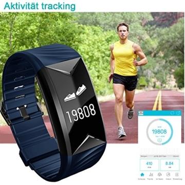 Fitness Armband,Yamay Fitness Tracker mit Herzfrequenz Wasserdicht IP67 Smart Watch Pulsuhren Aktivitätstracker Schrittzähler Armbanduhr,Schlafanalyse,Kalorienzähler Anruf/SMS für iOS Android Handys - 4