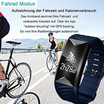 Fitness Armband,Yamay Fitness Tracker mit Herzfrequenz Wasserdicht IP67 Smart Watch Pulsuhren Aktivitätstracker Schrittzähler Armbanduhr,Schlafanalyse,Kalorienzähler Anruf/SMS für iOS Android Handys - 5
