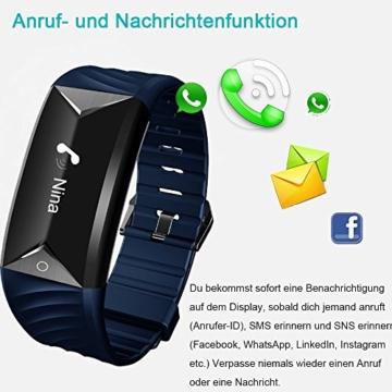 Fitness Armband,Yamay Fitness Tracker mit Herzfrequenz Wasserdicht IP67 Smart Watch Pulsuhren Aktivitätstracker Schrittzähler Armbanduhr,Schlafanalyse,Kalorienzähler Anruf/SMS für iOS Android Handys - 6