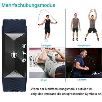 Fitness Armband,Yamay Fitness Tracker mit Herzfrequenz Wasserdicht IP67 Smart Watch Pulsuhren Aktivitätstracker Schrittzähler Armbanduhr,Schlafanalyse,Kalorienzähler Anruf/SMS für iOS Android Handys - 7