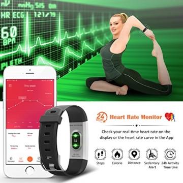 Fitness Tracker,Mpow Fitness Armbänder Aktivitätstracker,Herzfrequenzmonitor,Schlafmonitor,Schrittzähler mit 14 Trainingsmodi, 4 Uhrzeiger,GPS-Routenverfolgung,Alarme,Kameraaufnahme,USB Anschluss direkt laden für Android iOS Smartphone - 2