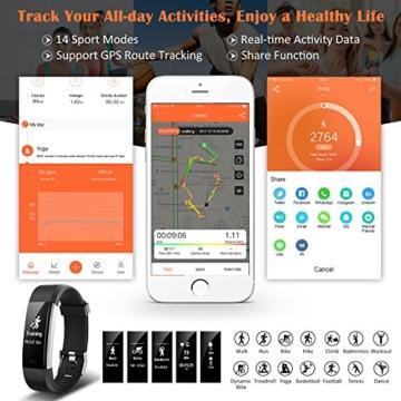 Fitness Tracker,Mpow Fitness Armbänder Aktivitätstracker,Herzfrequenzmonitor,Schlafmonitor,Schrittzähler mit 14 Trainingsmodi, 4 Uhrzeiger,GPS-Routenverfolgung,Alarme,Kameraaufnahme,USB Anschluss direkt laden für Android iOS Smartphone - 3