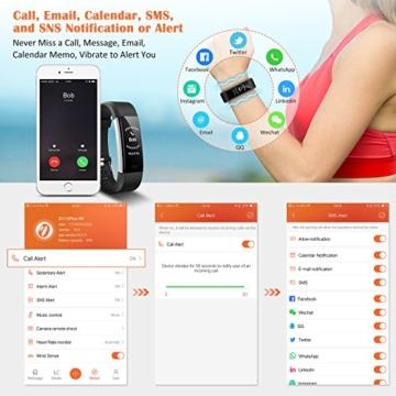 Fitness Tracker,Mpow Fitness Armbänder Aktivitätstracker,Herzfrequenzmonitor,Schlafmonitor,Schrittzähler mit 14 Trainingsmodi, 4 Uhrzeiger,GPS-Routenverfolgung,Alarme,Kameraaufnahme,USB Anschluss direkt laden für Android iOS Smartphone - 4