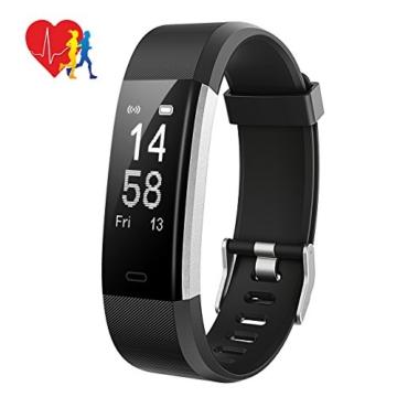 Fitness Tracker,Mpow Fitness Armbänder Aktivitätstracker,Herzfrequenzmonitor,Schlafmonitor,Schrittzähler mit 14 Trainingsmodi, 4 Uhrzeiger,GPS-Routenverfolgung,Alarme,Kameraaufnahme,USB Anschluss direkt laden für Android iOS Smartphone - 1