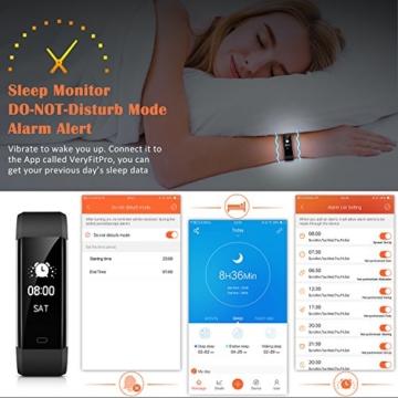 Fitness Tracker,Mpow Fitness Armbänder Aktivitätstracker,Herzfrequenzmonitor,Schlafmonitor,Schrittzähler mit 14 Trainingsmodi, 4 Uhrzeiger,GPS-Routenverfolgung,Alarme,Kameraaufnahme,USB Anschluss direkt laden für Android iOS Smartphone - 5