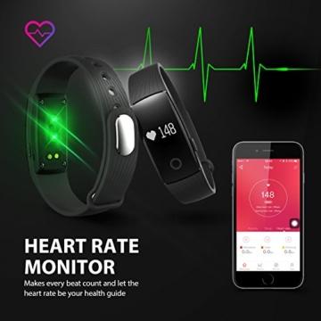 Mpow Bluetooth 4,0 Fitness Armbänder mit Pulsmesser,Smart Fitness Tracker mit Herzfrequenzmesser, Schrittzähler, Schlaf-Monitor, Aktivitätstracker, Remote Shoot, Anrufen / SMS, finden Telefon für Android iOS Smartphone wie iPhone 7/7 Plus/6S/6/6 Plus, Huawei P9. - 3