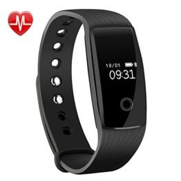 Mpow Bluetooth 4,0 Fitness Armbänder mit Pulsmesser,Smart Fitness Tracker mit Herzfrequenzmesser, Schrittzähler, Schlaf-Monitor, Aktivitätstracker, Remote Shoot, Anrufen / SMS, finden Telefon für Android iOS Smartphone wie iPhone 7/7 Plus/6S/6/6 Plus, Huawei P9. - 1