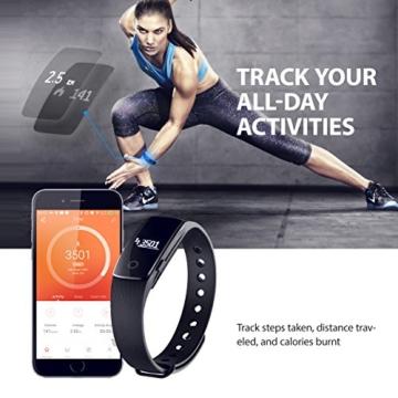 Mpow Bluetooth 4,0 Fitness Armbänder mit Pulsmesser,Smart Fitness Tracker mit Herzfrequenzmesser, Schrittzähler, Schlaf-Monitor, Aktivitätstracker, Remote Shoot, Anrufen / SMS, finden Telefon für Android iOS Smartphone wie iPhone 7/7 Plus/6S/6/6 Plus, Huawei P9. - 4