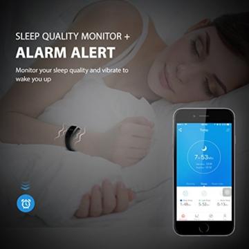Mpow Bluetooth 4,0 Fitness Armbänder mit Pulsmesser,Smart Fitness Tracker mit Herzfrequenzmesser, Schrittzähler, Schlaf-Monitor, Aktivitätstracker, Remote Shoot, Anrufen / SMS, finden Telefon für Android iOS Smartphone wie iPhone 7/7 Plus/6S/6/6 Plus, Huawei P9. - 5